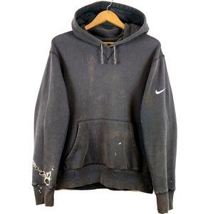 Vtg Nike Swoosh Distressed Grey Thrashed Hoodiw